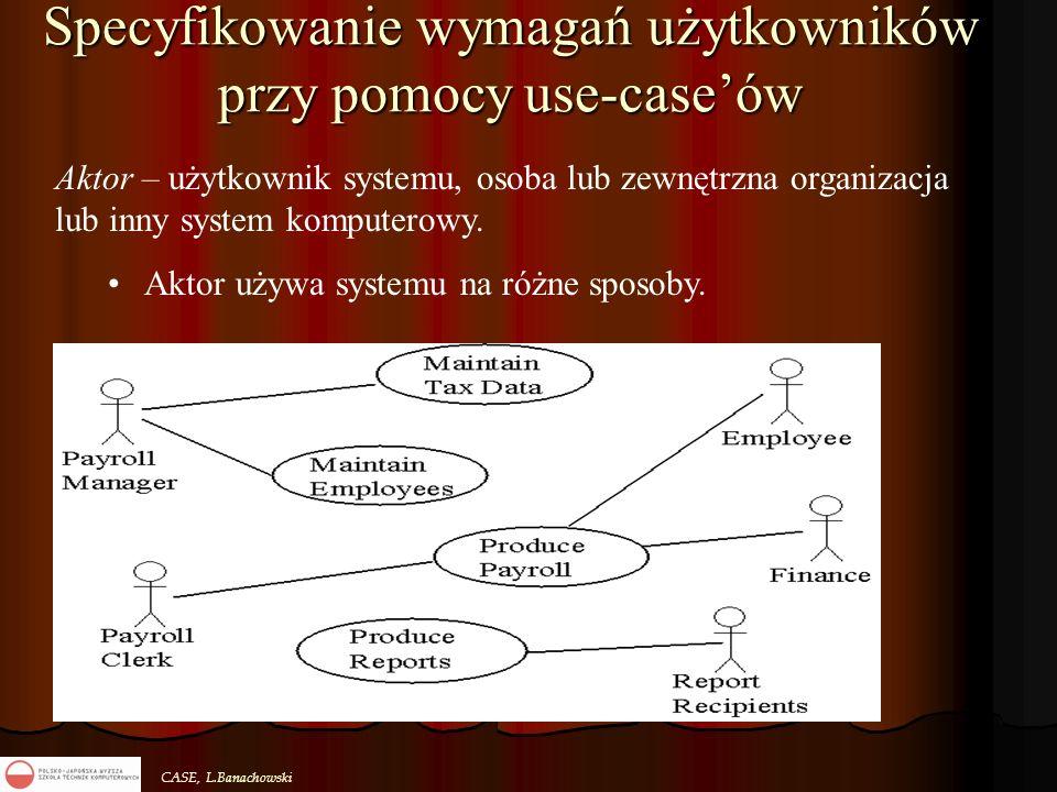 CASE, L.Banachowski Specyfikowanie wymagań użytkowników przy pomocy use-case'ów Aktor – użytkownik systemu, osoba lub zewnętrzna organizacja lub inny