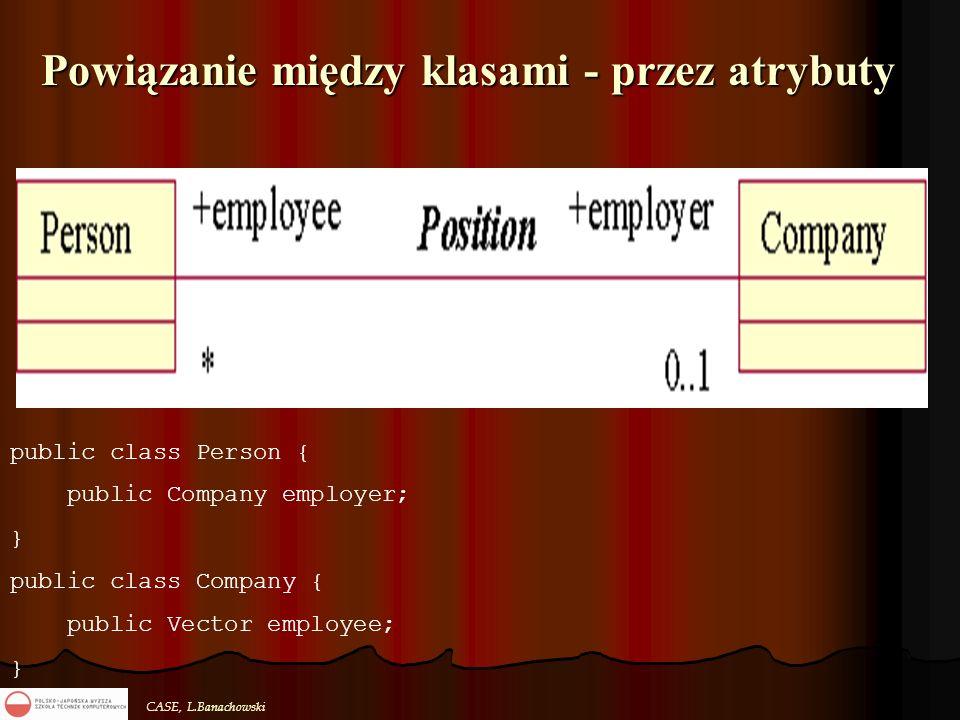 CASE, L.Banachowski Powiązanie między klasami - przez atrybuty public class Person { public Company employer; } public class Company { public Vector e