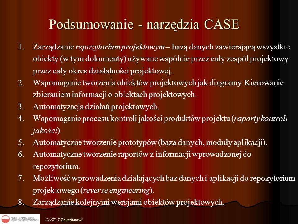CASE, L.Banachowski Podsumowanie - narzędzia CASE 1.Zarządzanie repozytorium projektowym – bazą danych zawierającą wszystkie obiekty (w tym dokumenty)