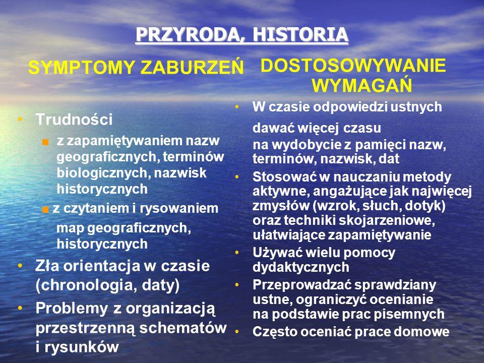 PRZYRODA, HISTORIA SYMPTOMY ZABURZEŃ Trudności ■ z zapamiętywaniem nazw geograficznych, terminów biologicznych, nazwisk historycznych ■ z czytaniem i