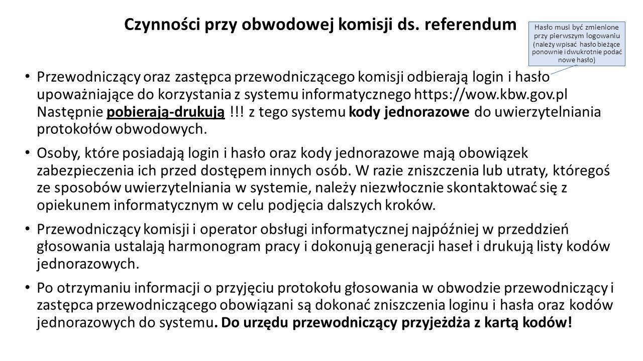 Przewodniczący Komisji przekazuje operatorowi obsługi informatycznej projekt protokołu głosowania w celu wprowadzenia ustalonych przez Komisję danych liczbowych do systemu.