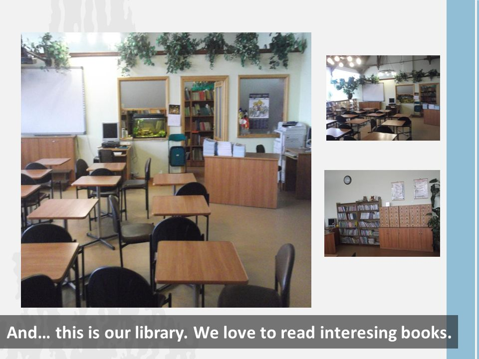 And… this is our library. We love to read interesing books.