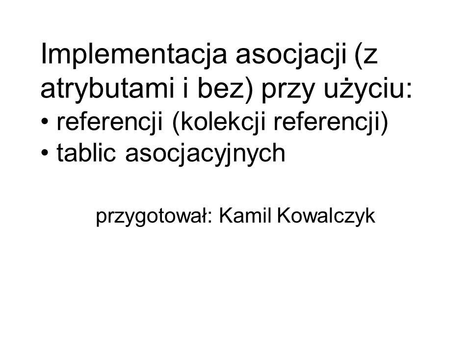 Implementacja asocjacji (z atrybutami i bez) przy użyciu: referencji (kolekcji referencji) tablic asocjacyjnych przygotował: Kamil Kowalczyk