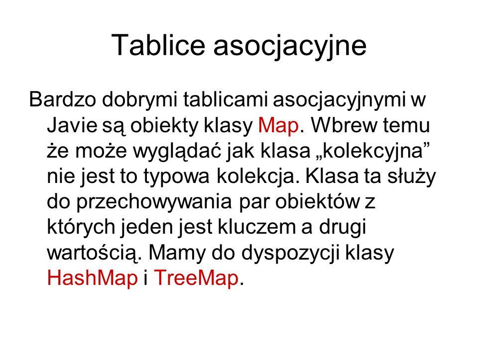 Tablice asocjacyjne Bardzo dobrymi tablicami asocjacyjnymi w Javie są obiekty klasy Map.