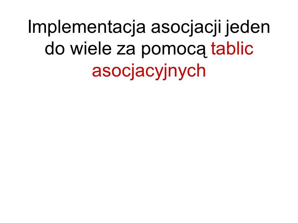 Implementacja asocjacji jeden do wiele za pomocą tablic asocjacyjnych