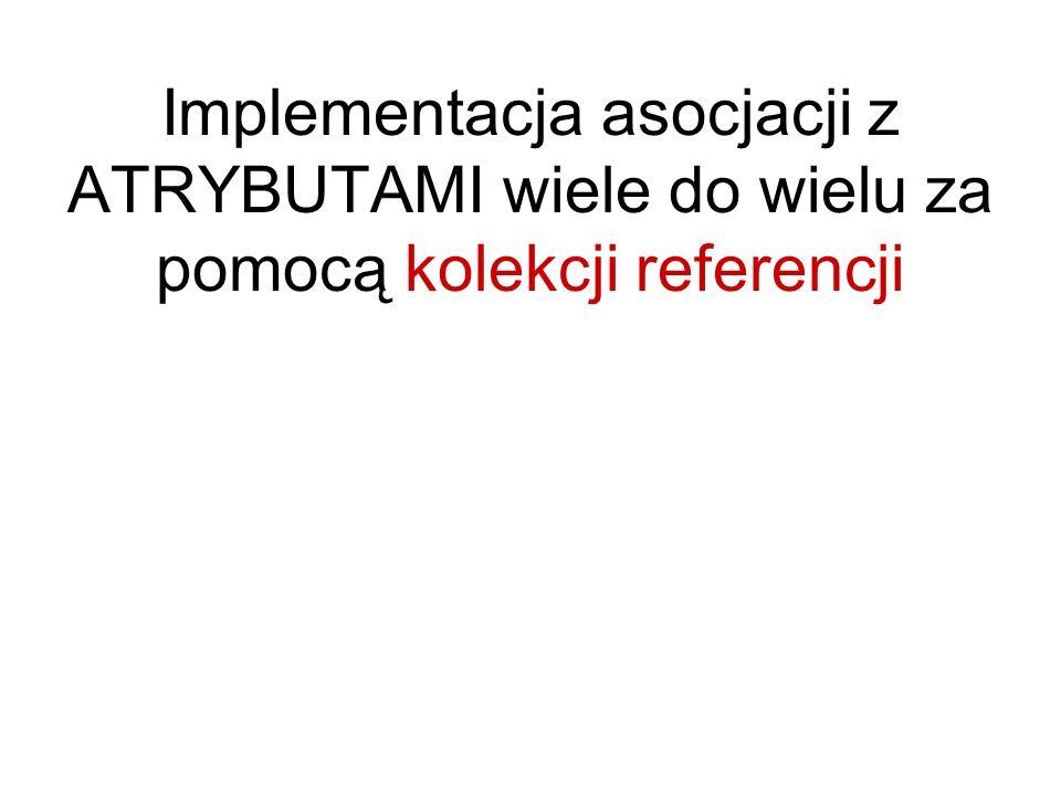 Implementacja asocjacji z ATRYBUTAMI wiele do wielu za pomocą kolekcji referencji