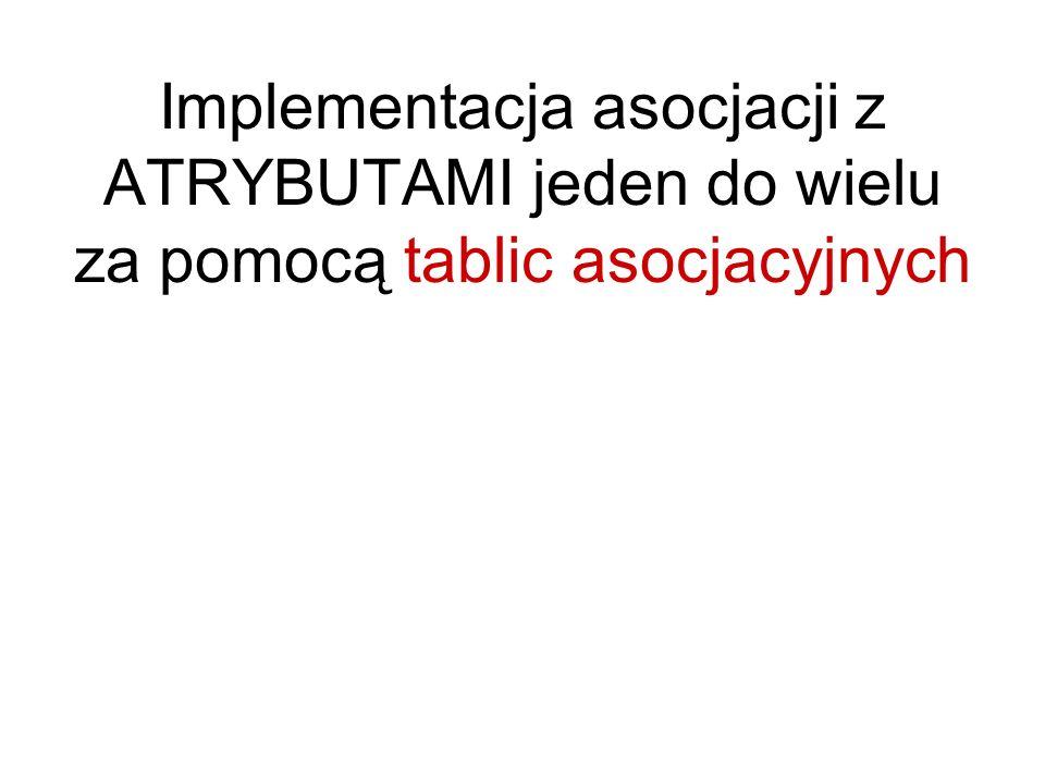 Implementacja asocjacji z ATRYBUTAMI jeden do wielu za pomocą tablic asocjacyjnych