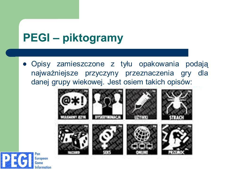 PEGI – piktogramy Opisy zamieszczone z tyłu opakowania podają najważniejsze przyczyny przeznaczenia gry dla danej grupy wiekowej. Jest osiem takich op