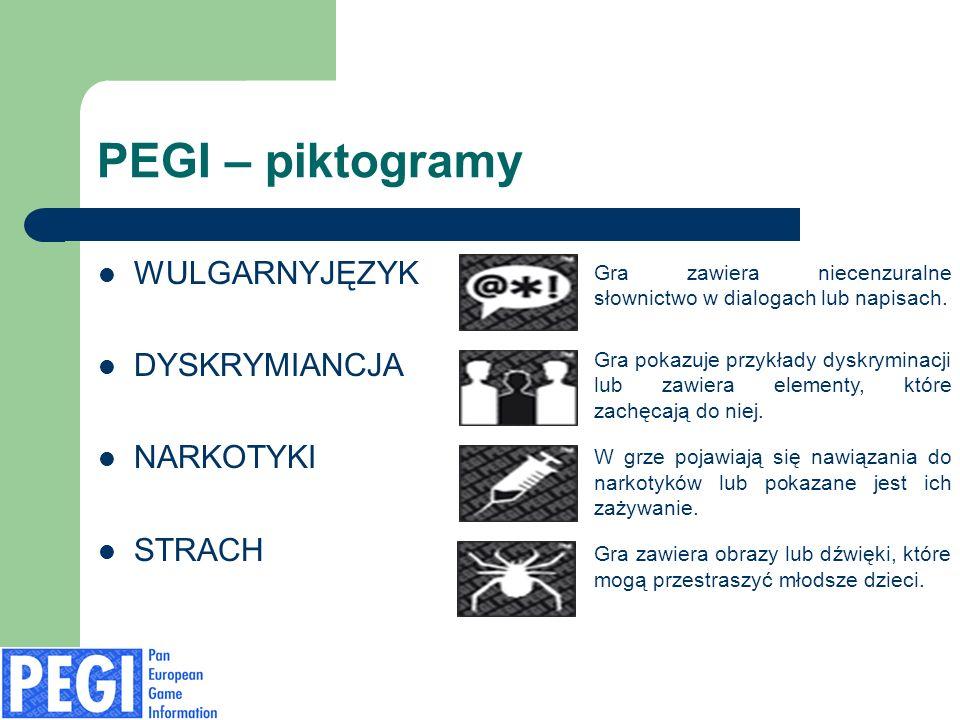 PEGI – piktogramy WULGARNYJĘZYK DYSKRYMIANCJA NARKOTYKI STRACH Gra zawiera niecenzuralne słownictwo w dialogach lub napisach.