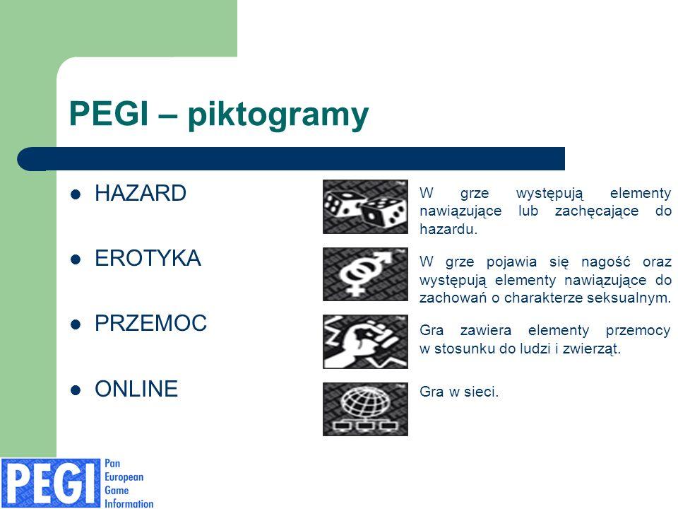 PEGI – piktogramy HAZARD EROTYKA PRZEMOC ONLINE W grze występują elementy nawiązujące lub zachęcające do hazardu. W grze pojawia się nagość oraz wystę
