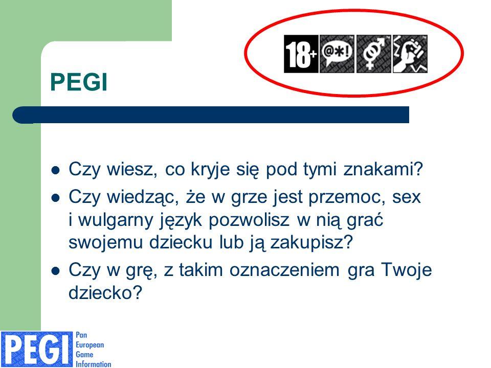 PEGI – piktogramy HAZARD EROTYKA PRZEMOC ONLINE W grze występują elementy nawiązujące lub zachęcające do hazardu.