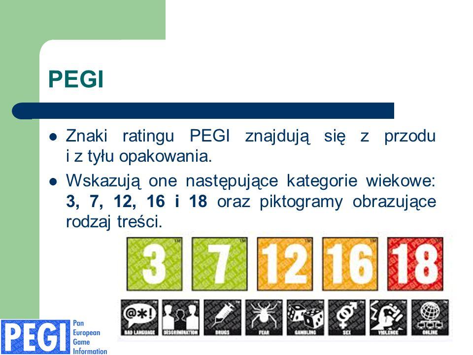 PEGI Znaki ratingu PEGI znajdują się z przodu i z tyłu opakowania. Wskazują one następujące kategorie wiekowe: 3, 7, 12, 16 i 18 oraz piktogramy obraz