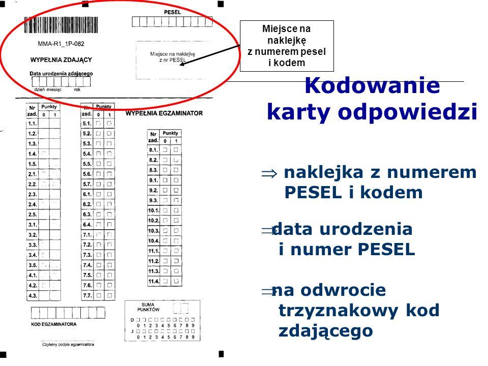 Kodowanie karty odpowiedzi  naklejka z numerem PESEL i kodem data urodzenia i numer PESEL Miejsce na naklejkę z numerem pesel i kodem na odwrocie trzyznakowy kod zdającego
