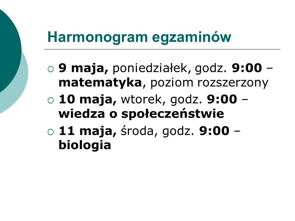 Harmonogram egzaminów  9 maja, poniedziałek, godz.