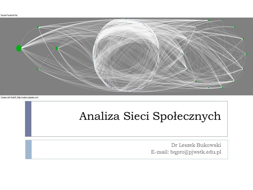 Analiza Sieci Społecznych Dr Leszek Bukowski E-mail: bqpro@pjwstk.edu.pl