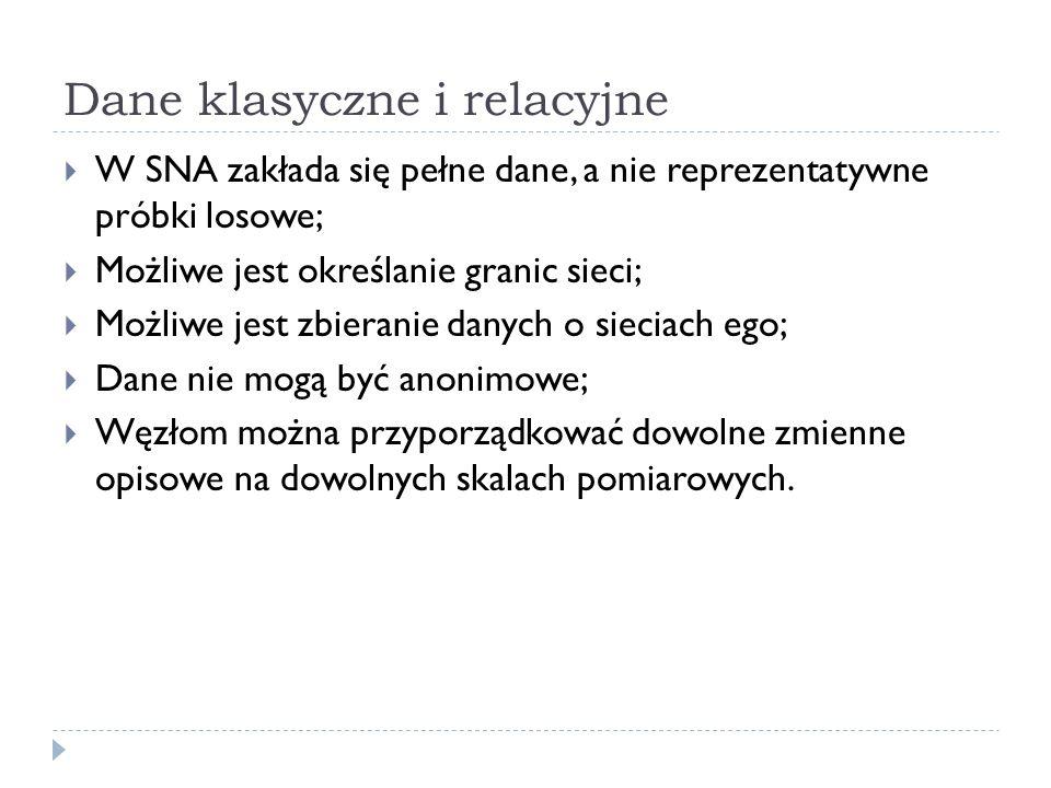 Dane klasyczne i relacyjne  W SNA zakłada się pełne dane, a nie reprezentatywne próbki losowe;  Możliwe jest określanie granic sieci;  Możliwe jest