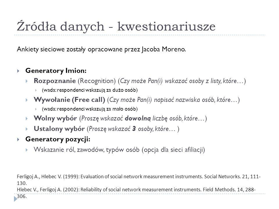 Źródła danych - kwestionariusze Ankiety sieciowe zostały opracowane przez Jacoba Moreno.  Generatory Imion:  Rozpoznanie (Recognition) (Czy może Pan