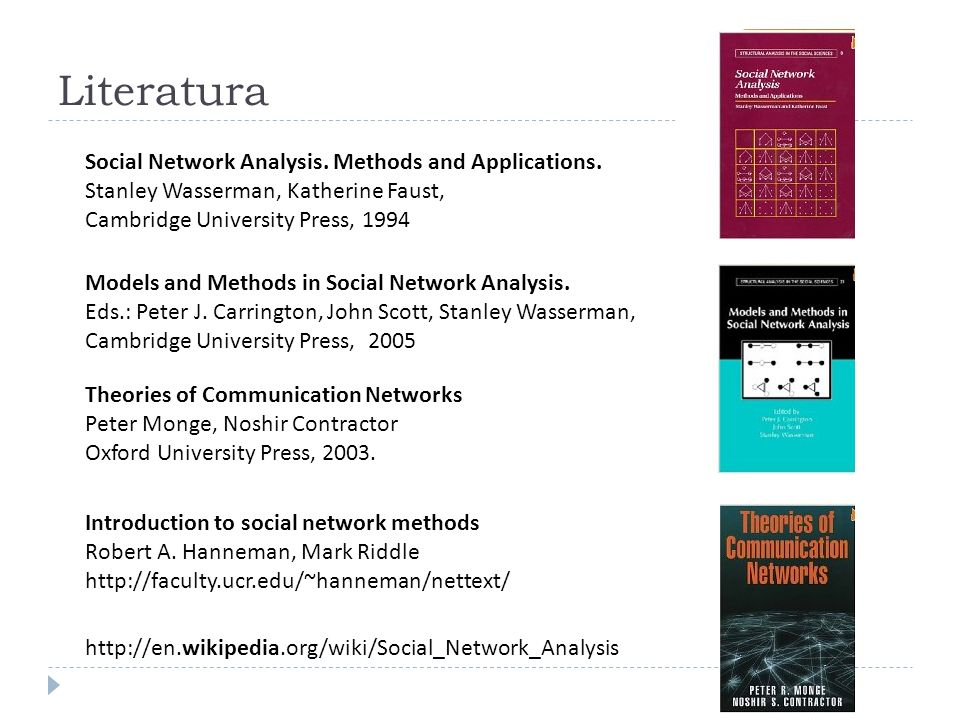 Literatura Social Network Analysis. Methods and Applications.