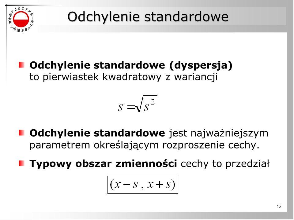 15 Odchylenie standardowe Odchylenie standardowe (dyspersja) to pierwiastek kwadratowy z wariancji Odchylenie standardowe jest najważniejszym parametrem określającym rozproszenie cechy.