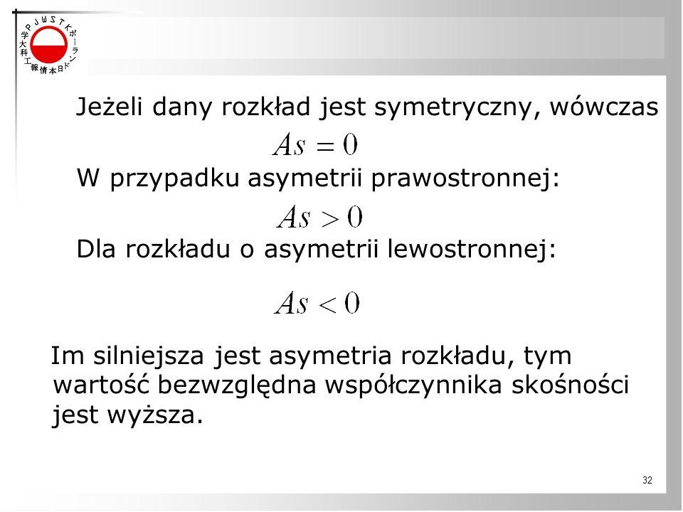 32 Jeżeli dany rozkład jest symetryczny, wówczas W przypadku asymetrii prawostronnej: Dla rozkładu o asymetrii lewostronnej: Im silniejsza jest asymetria rozkładu, tym wartość bezwzględna współczynnika skośności jest wyższa.
