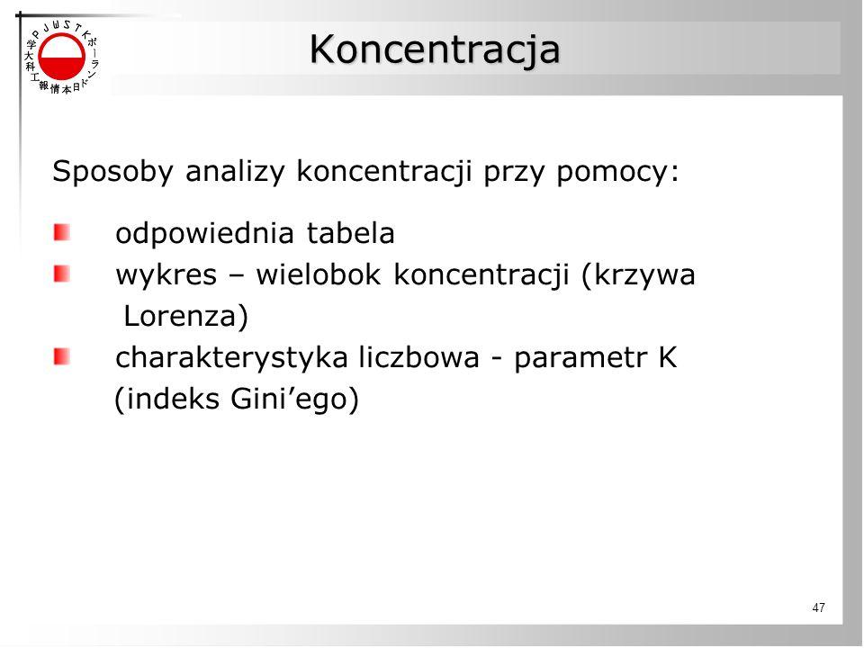47 Koncentracja Sposoby analizy koncentracji przy pomocy: odpowiednia tabela wykres – wielobok koncentracji (krzywa Lorenza) charakterystyka liczbowa - parametr K (indeks Gini'ego)
