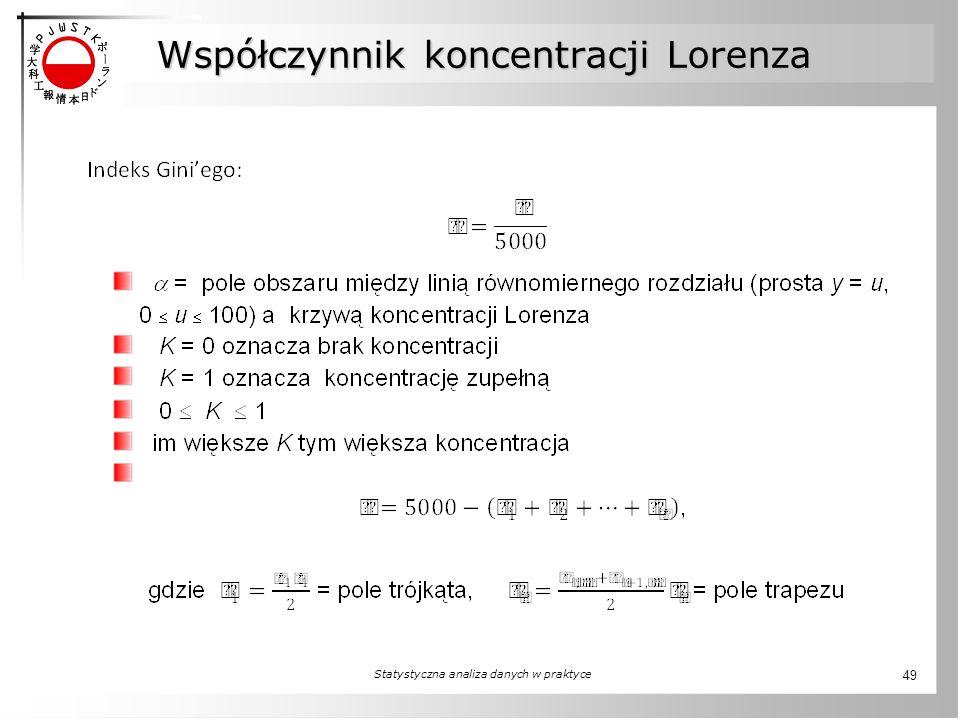 Współczynnik koncentracji Lorenza Statystyczna analiza danych w praktyce 49