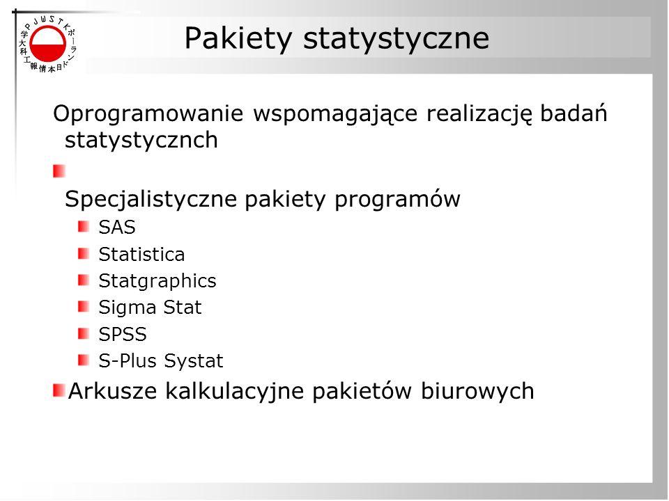 Pakiety statystyczne Oprogramowanie wspomagające realizację badań statystycznch Specjalistyczne pakiety programów SAS Statistica Statgraphics Sigma Stat SPSS S-Plus Systat Arkusze kalkulacyjne pakietów biurowych