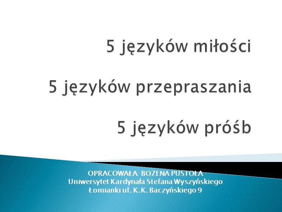 OPRACOWAŁA: BOŻENA PUSTOŁA Uniwersytet Kardynała Stefana Wyszyńskiego Łomianki ul. K.K. Baczyńskiego 9