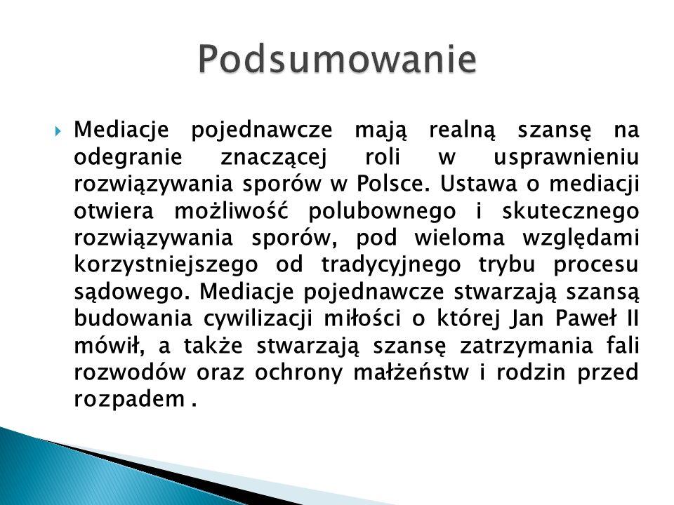  Mediacje pojednawcze mają realną szansę na odegranie znaczącej roli w usprawnieniu rozwiązywania sporów w Polsce. Ustawa o mediacji otwiera możliwoś