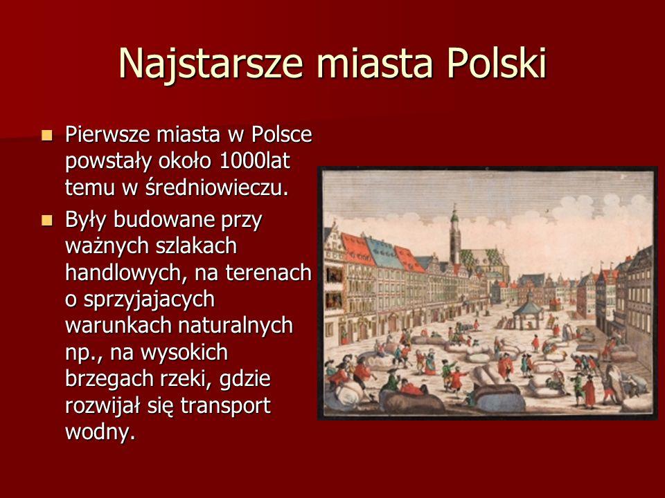 Najstarsze miasta Polski Pierwsze miasta w Polsce powstały około 1000lat temu w średniowieczu. Pierwsze miasta w Polsce powstały około 1000lat temu w