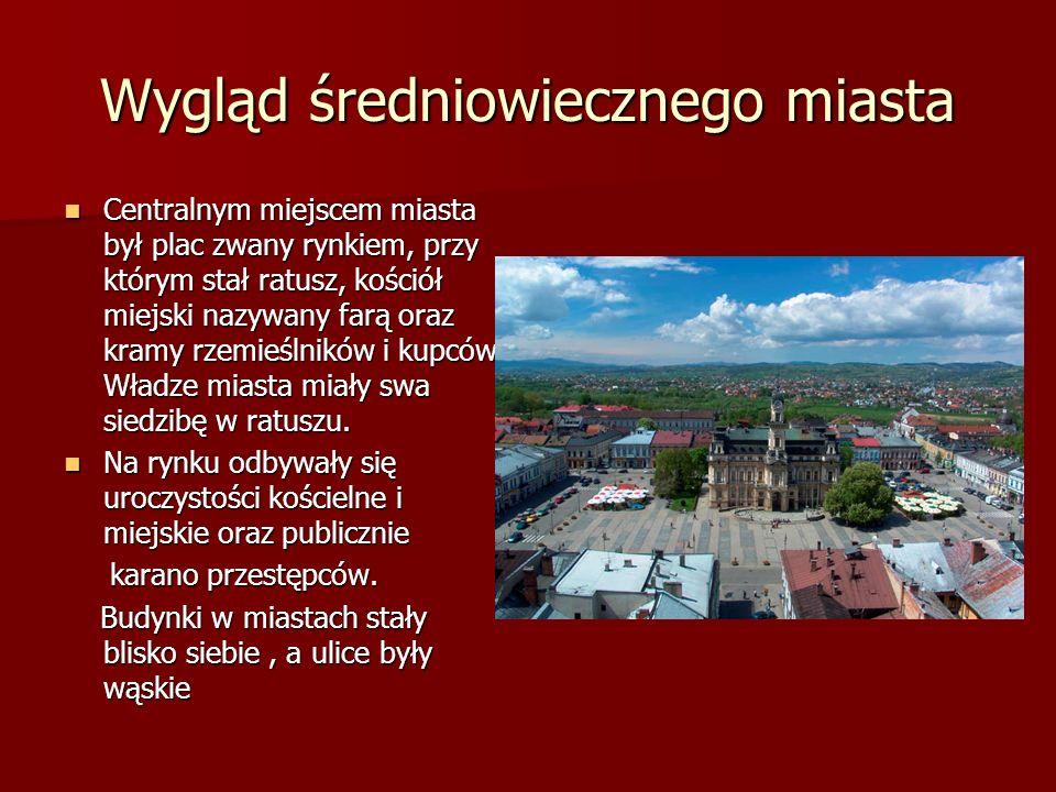 Wygląd średniowiecznego miasta Centralnym miejscem miasta był plac zwany rynkiem, przy którym stał ratusz, kościół miejski nazywany farą oraz kramy rz