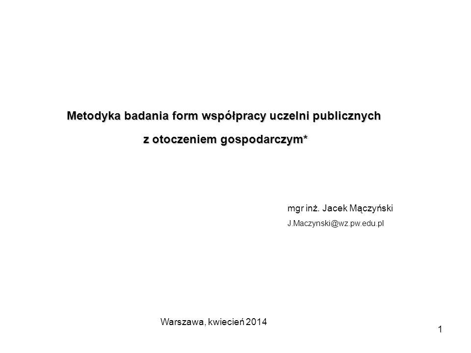 1 Metodyka badania form współpracy uczelni publicznych z otoczeniem gospodarczym* z otoczeniem gospodarczym* mgr inż.