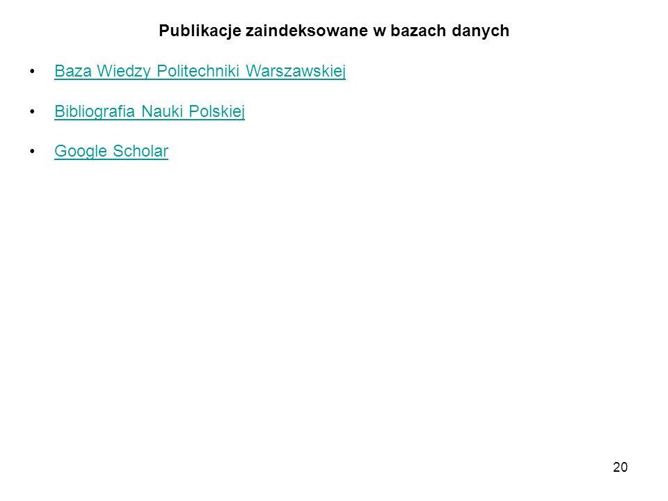 20 Publikacje zaindeksowane w bazach danych Baza Wiedzy Politechniki Warszawskiej Bibliografia Nauki Polskiej Google Scholar