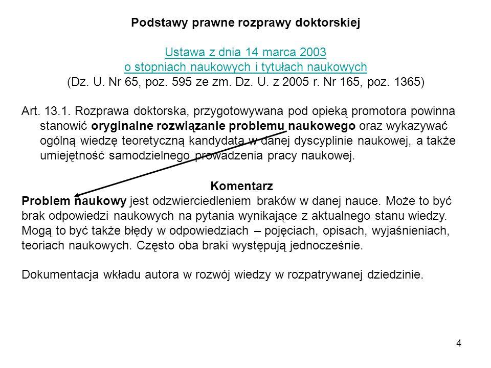 4 Podstawy prawne rozprawy doktorskiej Ustawa z dnia 14 marca 2003 o stopniach naukowych i tytułach naukowych (Dz.