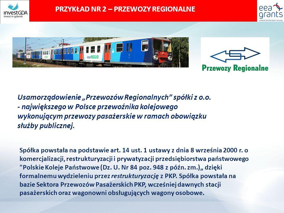 """PRZYKŁAD NR 2 – PRZEWOZY REGIONALNE Usamorządowienie """"Przewozów Regionalnych spółki z o.o."""