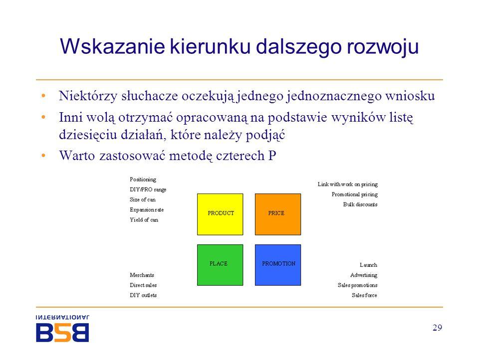 29 Wskazanie kierunku dalszego rozwoju Niektórzy słuchacze oczekują jednego jednoznacznego wniosku Inni wolą otrzymać opracowaną na podstawie wyników