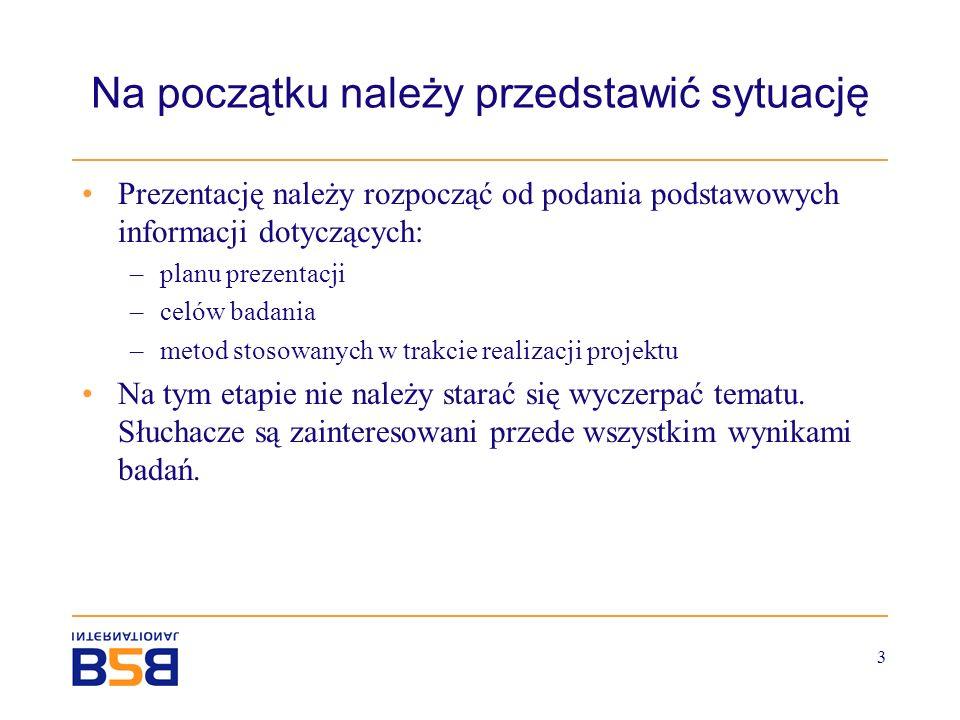 3 Na początku należy przedstawić sytuację Prezentację należy rozpocząć od podania podstawowych informacji dotyczących: –planu prezentacji –celów badan