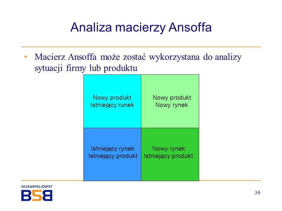 36 Analiza macierzy Ansoffa Macierz Ansoffa może zostać wykorzystana do analizy sytuacji firmy lub produktu Nowy rynek Istniejący produkt Nowy produkt