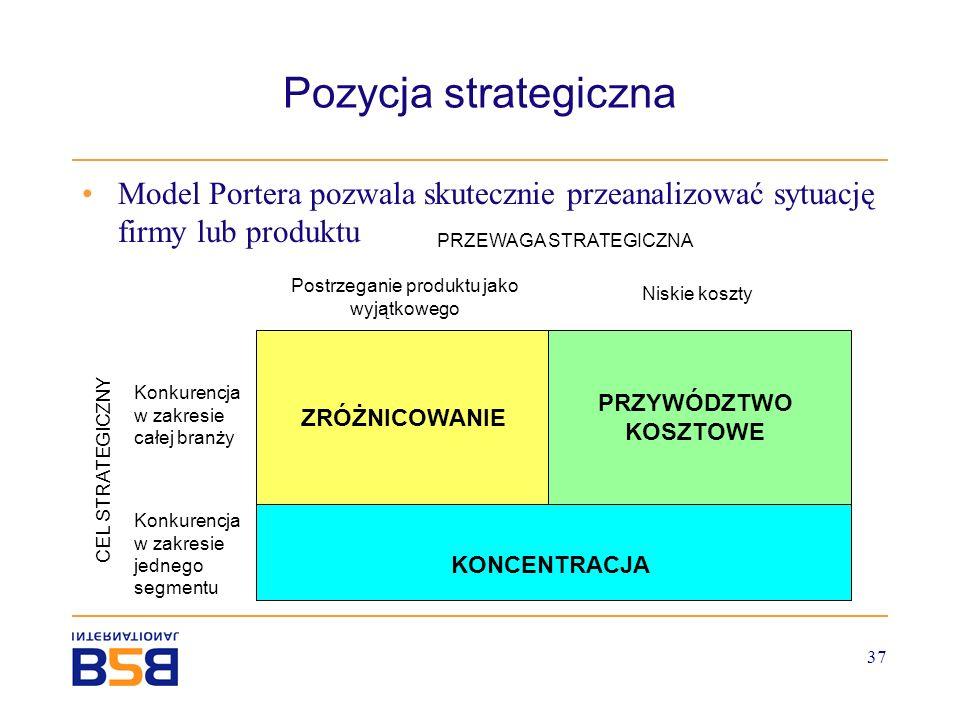 37 Pozycja strategiczna Model Portera pozwala skutecznie przeanalizować sytuację firmy lub produktu ZRÓŻNICOWANIE PRZYWÓDZTWO KOSZTOWE KONCENTRACJA Po