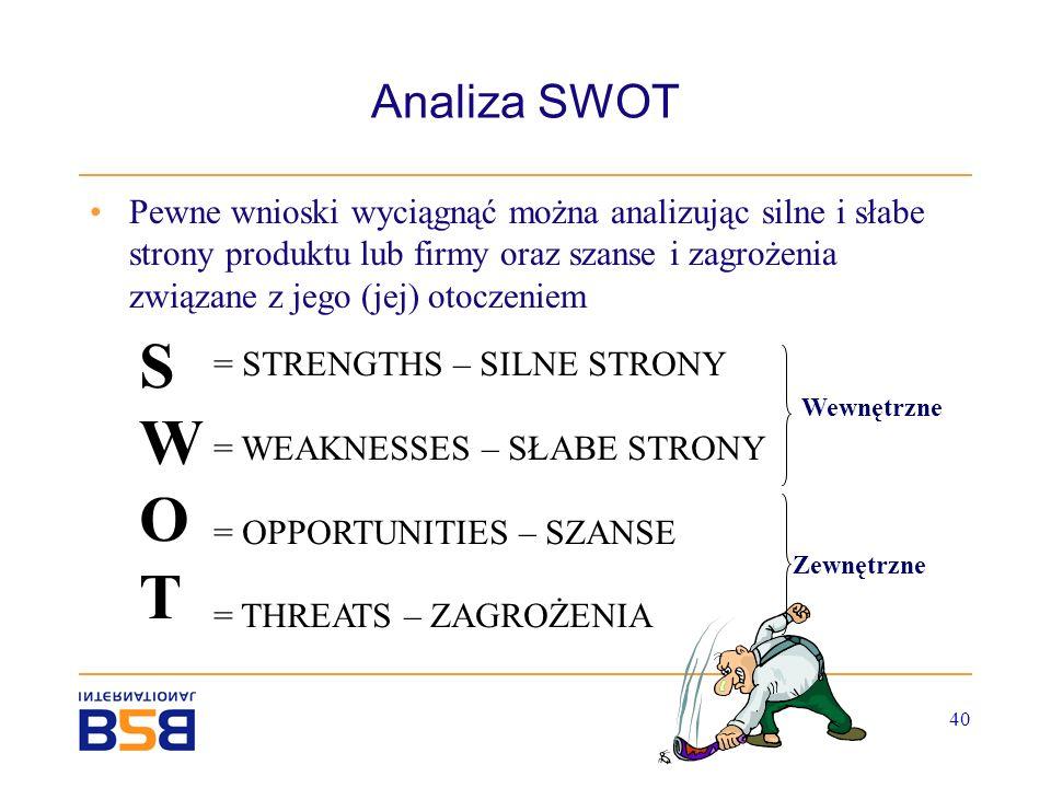 40 Analiza SWOT Pewne wnioski wyciągnąć można analizując silne i słabe strony produktu lub firmy oraz szanse i zagrożenia związane z jego (jej) otocze