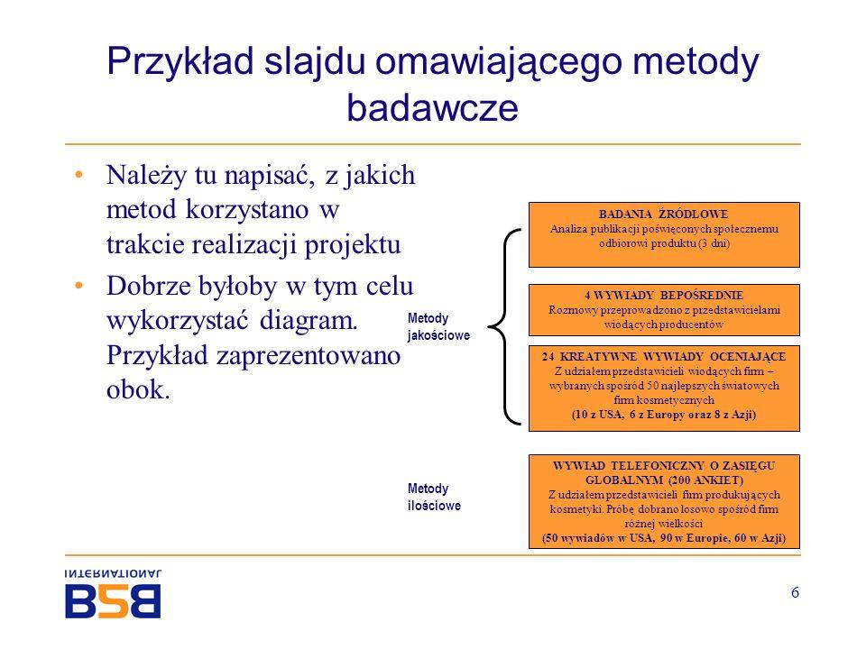 6 Przykład slajdu omawiającego metody badawcze Należy tu napisać, z jakich metod korzystano w trakcie realizacji projektu Dobrze byłoby w tym celu wyk