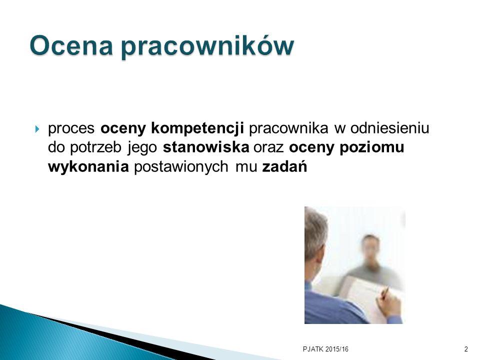  proces oceny kompetencji pracownika w odniesieniu do potrzeb jego stanowiska oraz oceny poziomu wykonania postawionych mu zadań PJATK 2015/162