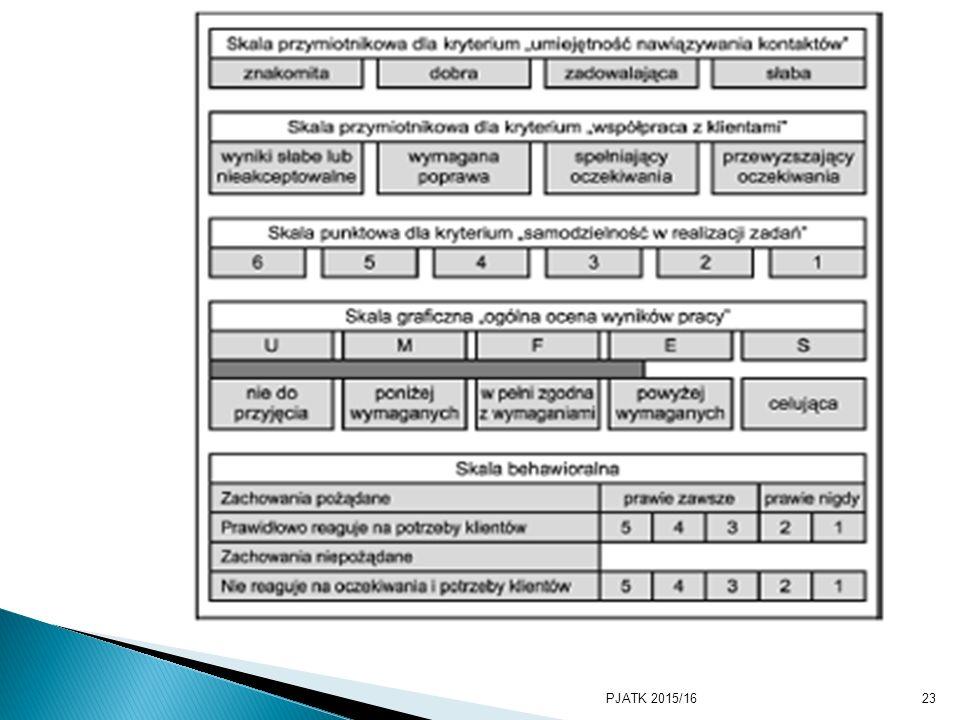 PJATK 2015/1623 Wybór skali zależy od preferencji osoby oceniającej oraz stanowiska.