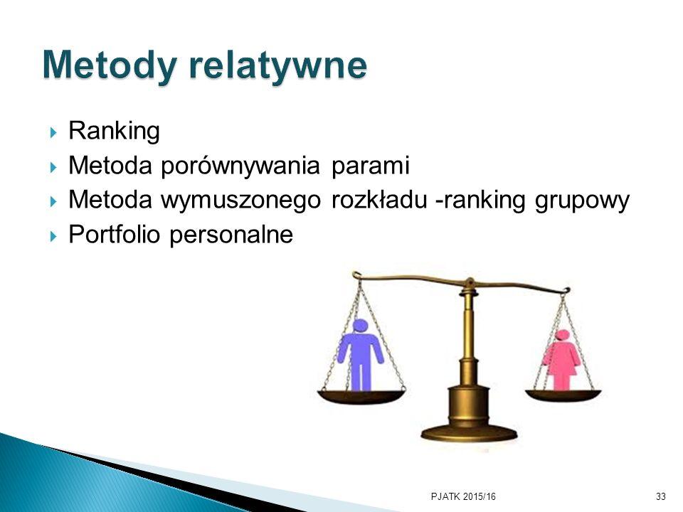  Ranking  Metoda porównywania parami  Metoda wymuszonego rozkładu -ranking grupowy  Portfolio personalne PJATK 2015/1633