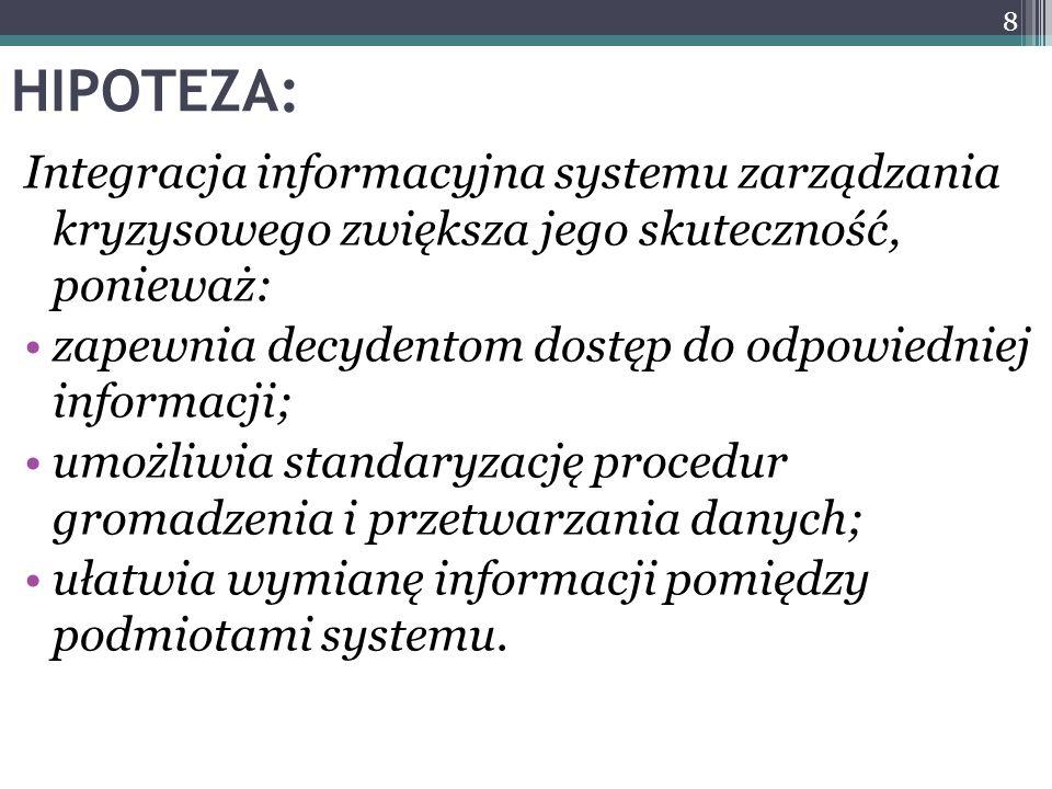 HIPOTEZA: Integracja informacyjna systemu zarządzania kryzysowego zwiększa jego skuteczność, ponieważ: zapewnia decydentom dostęp do odpowiedniej info