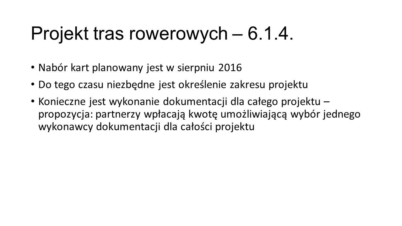 Projekt tras rowerowych – 6.1.4. Nabór kart planowany jest w sierpniu 2016 Do tego czasu niezbędne jest określenie zakresu projektu Konieczne jest wyk