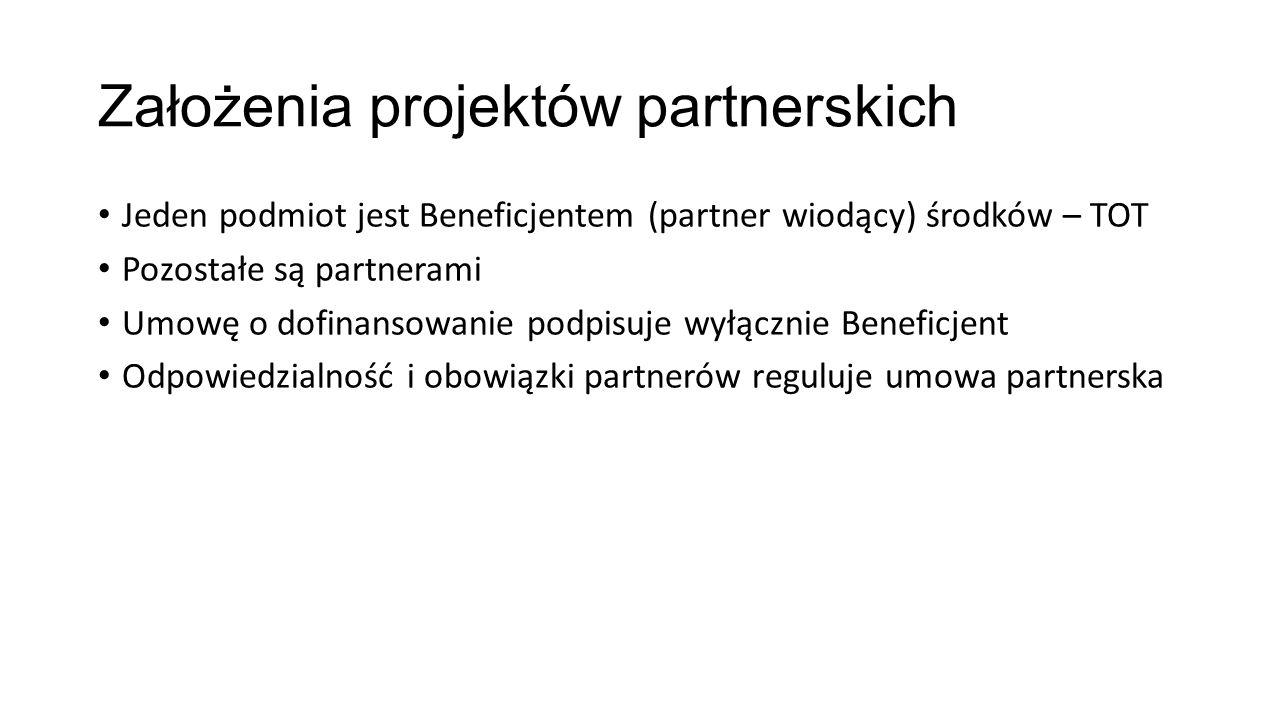 Założenia projektów partnerskich Jeden podmiot jest Beneficjentem (partner wiodący) środków – TOT Pozostałe są partnerami Umowę o dofinansowanie podpisuje wyłącznie Beneficjent Odpowiedzialność i obowiązki partnerów reguluje umowa partnerska