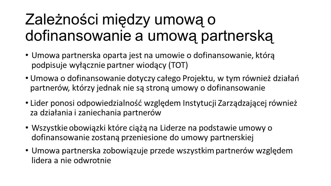 Zależności między umową o dofinansowanie a umową partnerską Umowa partnerska oparta jest na umowie o dofinansowanie, którą podpisuje wyłącznie partner wiodący (TOT) Umowa o dofinansowanie dotyczy całego Projektu, w tym również działań partnerów, którzy jednak nie są stroną umowy o dofinansowanie Lider ponosi odpowiedzialność względem Instytucji Zarządzającej również za działania i zaniechania partnerów Wszystkie obowiązki które ciążą na Liderze na podstawie umowy o dofinansowanie zostaną przeniesione do umowy partnerskiej Umowa partnerska zobowiązuje przede wszystkim partnerów względem lidera a nie odwrotnie