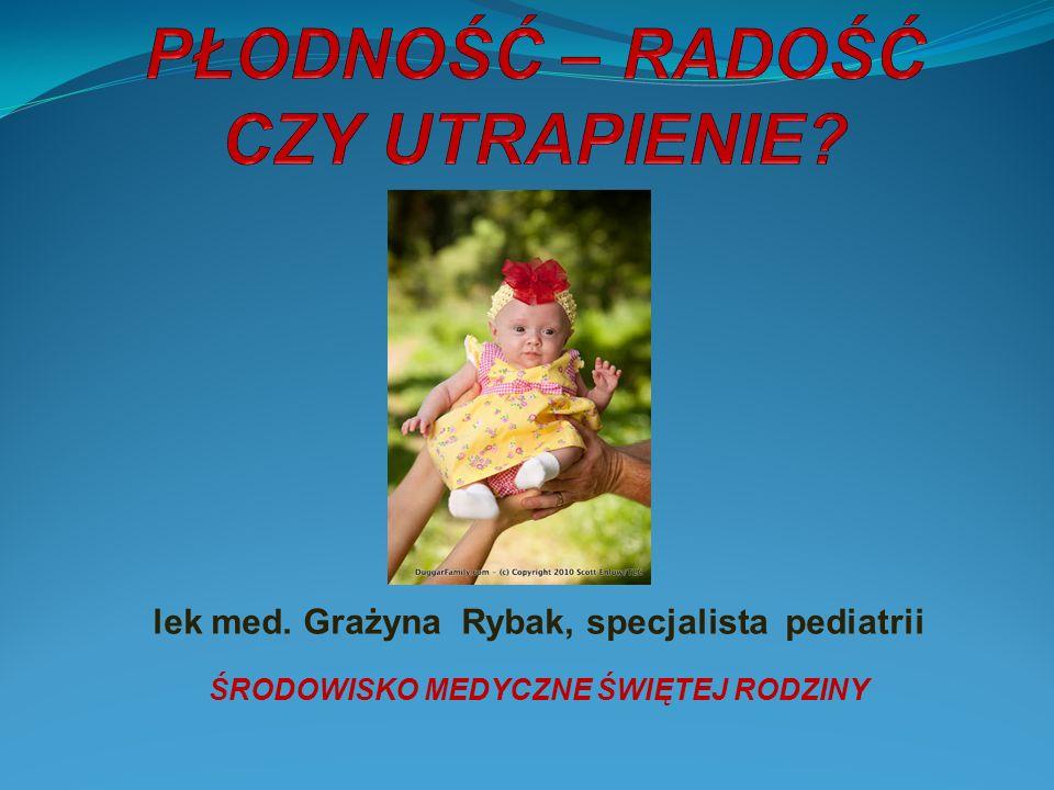 lek med. Grażyna Rybak, specjalista pediatrii ŚRODOWISKO MEDYCZNE ŚWIĘTEJ RODZINY