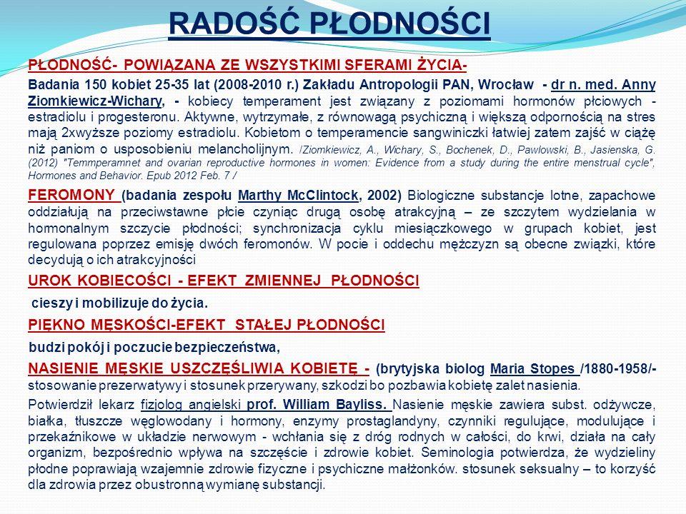 RADOŚĆ PŁODNOŚCI PŁODNOŚĆ- POWIĄZANA ZE WSZYSTKIMI SFERAMI ŻYCIA - Badania 150 kobiet 25-35 lat (2008-2010 r.) Zakładu Antropologii PAN, Wrocław - dr n.